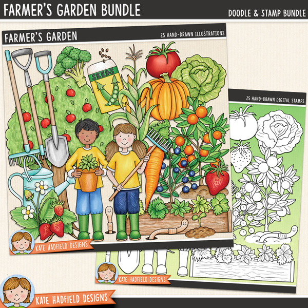 Farmer's Garden digital scrapbook elements / cute gardening clip art! (Clipart and line art bundle). Hand-drawn illustrations for digital scrapbooking, crafting and teaching resources from Kate Hadfield Designs.