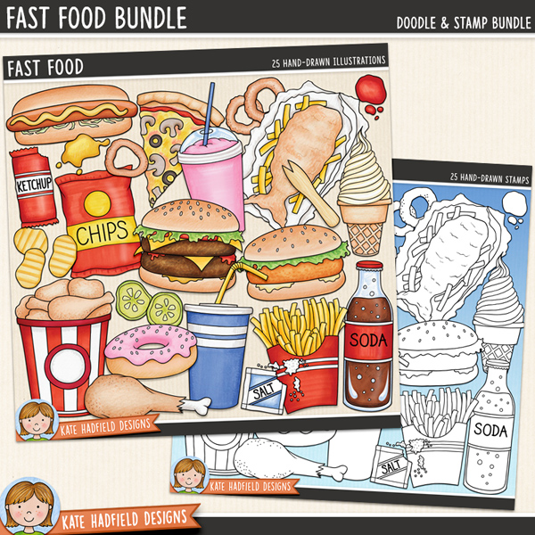 Junk food digital scrapbook elements / cute fast food clip art! (Clip art and line art bundle). A fun collection of burgers, hot dogs, pizza and other fast food illustrations! Hand-drawn doodles for digital scrapbooking, crafting and teaching resources from Kate Hadfield Designs.