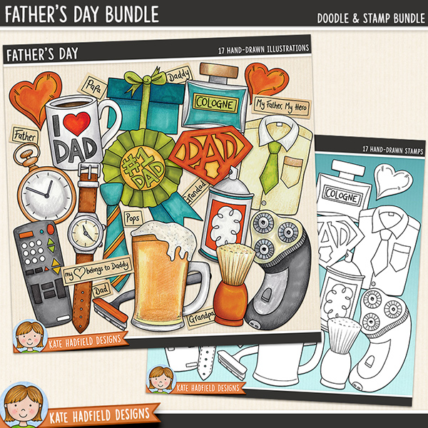 Father's Day digital scrapbook elements / fun Father's Day themed clip art illustrations! (Clipart and line art bundle). Hand-drawn doodles for digital scrapbooking, crafting and teaching resources from Kate Hadfield Designs.