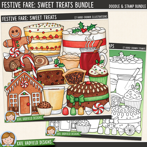 Festive Fare Sweet Treats - Christmas food digital scrapbook elements / traditional Christmas desserts clip art! (Clipart and line art bundle). Hand-drawn illustrations for digital scrapbooking, crafting and teaching resources from Kate Hadfield Designs. #digitalscrapbooking #digiscrap