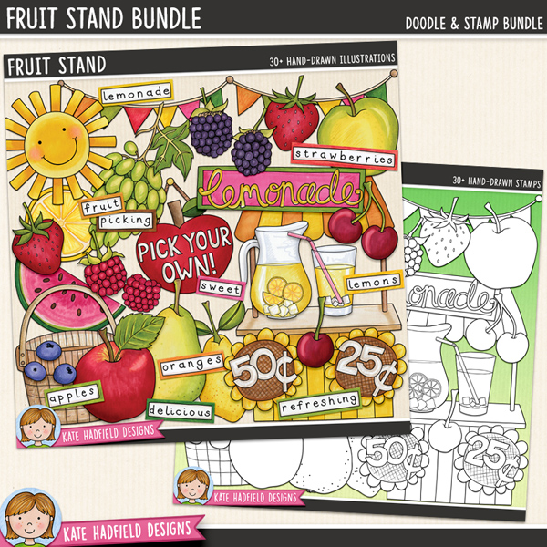 Fruit Stand - summer lemonade stand digital scrapbook elements / cute fruit clip art! (Clipart and line art bundle). Hand-drawn doodles and illustrations for digital scrapbooking, crafting and teaching resources from Kate Hadfield Designs. #digitalscrapbooking