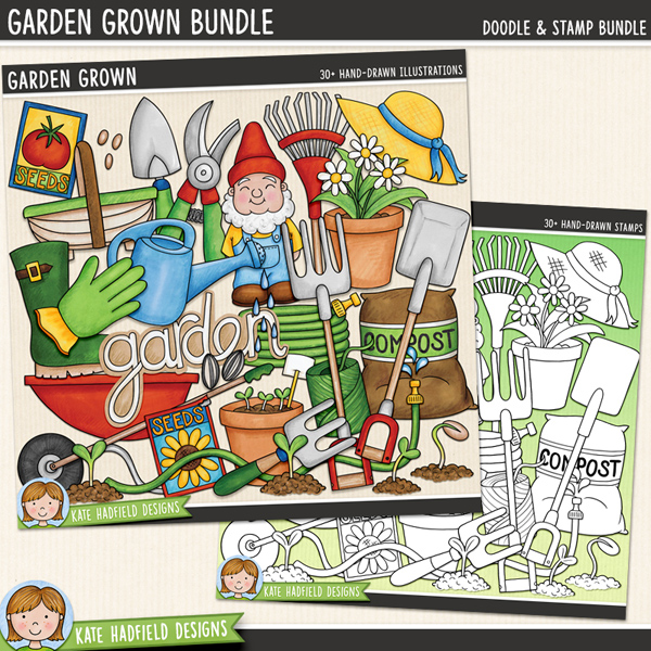 Garden Grown - Gardening digital scrapbook elements / cute garden gnome clip art! (Clipart and line art bundle). Hand-drawn illustrations for digital scrapbooking, crafting and teaching resources from Kate Hadfield Designs.