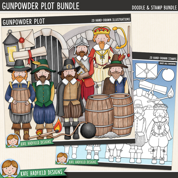 Gunpowder Plot - Bonfire / Guy Fawkes Night digital scrapbook elements / historical clip art pack! (Clipart and line art bundle). Hand-drawn doodles and illustrations for digital scrapbooking, crafting and teaching resources from Kate Hadfield Designs.
