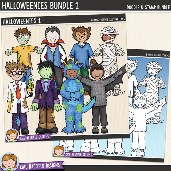 Halloweenies 1 - a fun collection of Halloween kids in costume, all ready to go trick-or-treating! (Clip art and line art bundle), Halloween character digital scrapbook elements / cute  clip art! Hand-drawn doodles and illustrations for digital scrapbooking, crafting and teaching resources from Kate Hadfield Designs.