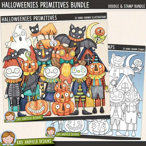 Halloweenies Primitives - a fun collection of folk art inspired Halloween characters! (Clipart and line art bundle!) Hand-drawn digital scrapbook elements  and clip art for digital scrapbooking, crafting and teaching resources from Kate Hadfield Designs.