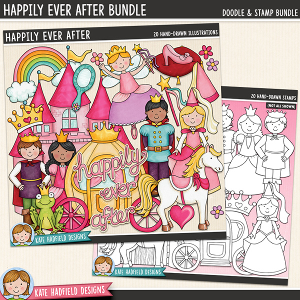 Happily Ever After - fairy tale digital scrapbook elements / cute princess clip art! (Clip art and line art bundle). Hand-drawn illustrations for digital scrapbooking, crafting and teaching resources from Kate Hadfield Designs. #digitalscrapbooking