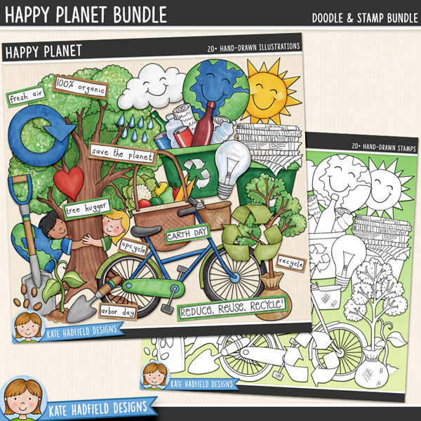 Happy Planet - Earth Day / recycling digital scrapbook elements and clip art! A fun collection of environmentally friendly doodles perfect for celebrating Earth Day, Arbor Day and any other 'green' events! (Clipart and line art bundle). Hand-drawn illustrations for digital scrapbooking, crafting and teaching resources from Kate Hadfield Designs.