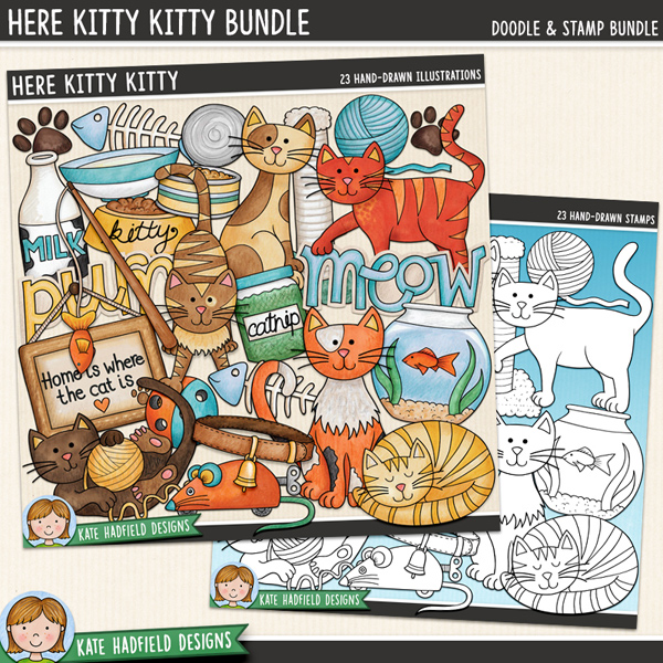 Here Kitty Kitty - cat and kitten digital scrapbook elements / cute kitty clip art! (Clipart and line art bundle). Hand-drawn illustrations for digital scrapbooking, crafting and teaching resources from Kate Hadfield Designs.