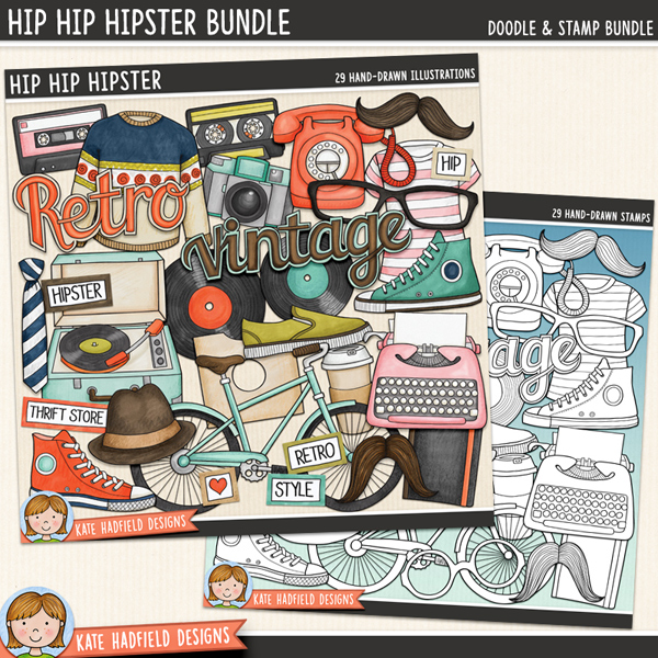 Hip Hip Hipster - Retro hipster digital scrapbook elements / cute vintage clip art! (Clipart and line art bundle). Hand-drawn illustrations for digital scrapbooking, crafting and teaching resources from Kate Hadfield Designs.