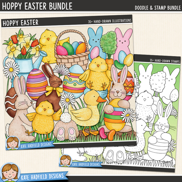 Hoppy Easter - Easter digital scrapbook elements / cute Easter egg hunt clip art! (Clipart and line art bundle). Hand-drawn clip art and line art for digital scrapbooking, crafting and teaching resources from Kate Hadfield Designs.