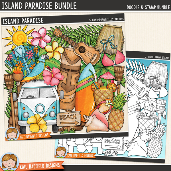 Island Paradise - tropical beach digital scrapbook elements / cute holiday and vacation clip art! (Clipart and line art bundle). Hand-drawn doodles and illustrations for digital scrapbooking, crafting and teaching resources from Kate Hadfield Designs. #digitalscrapbooking
