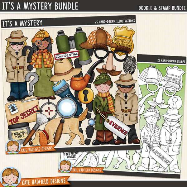 It's A Mystery - spy and detective digital scrapbook elements / cute detective kids clip art! (Clipart and line art bundle). Hand-drawn doodles and illustrations for digital scrapbooking, crafting and teaching resources from Kate Hadfield Designs.
