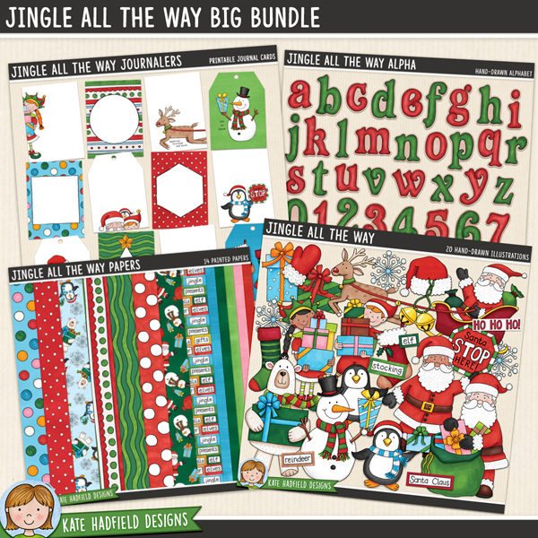 Jingle All The Way is packed with cheerful colours and fun loving festive characters bearing gifts! Sure to add a touch of fun and whimsy to your pages and projects, this pack contains the following hand drawn doodles: elf boy, elf girl, 3 gifts, jingle bells, mitten, penguin, polar bear, gift sack, 2 Santas, Santa hat, Santa sleigh, snowflake, snowman, 2 stockings and Santa stop here! sign. Also contains the following wordy-bits: bells, elf, elves, Father Christmas, gifts, Ho Ho Ho, jingle, North Pole, presents, reindeer, Rudolph, Santa Claus, sleigh, stocking.	Great value bundle pack containing the following packs from the Jingle All The Way collection:			Jingle All The Way			Jingle All The Way Papers			Jingle All The Way Alpha			Jingle All the Way Journalers	FOR PERSONAL / LIMITED S4H USE (please see my Terms of Use for more information)