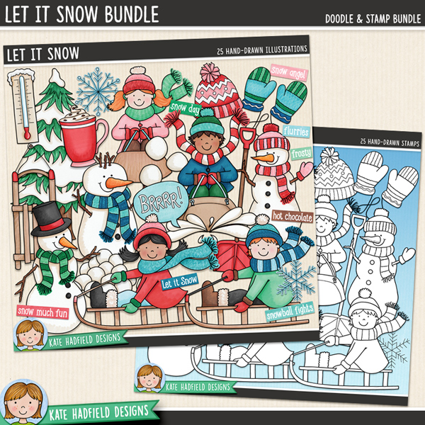 Let It Snow - Winter kids digital scrapbook elements / cute snowman clip art! (Doodle and digital stamps bundle!) Hand-drawn illustrations for digital scrapbooking, crafting and teaching resources from Kate Hadfield Designs.
