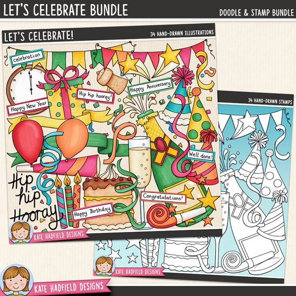 Let's Celebrate digital scrapbook kit / cute celebration, party and new year's eve clip art! (Clipart and line art bundle).  A collection of colourful illustrations to help you celebrate any special occasion or achievement from New Year's Eve to anniversaries, birthdays to exam results! Hand-drawn illustrations for digital scrapbooking, crafting and teaching resources from Kate Hadfield Designs.