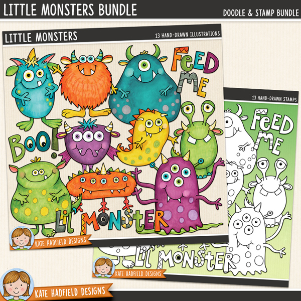Little Monsters digital scrapbook elements / cute monster clip art (perfect for Halloween!). Clipart and line art bundle. Hand-drawn doodles and illustrations for digital scrapbooking, crafting and teaching resources from Kate Hadfield Designs.
