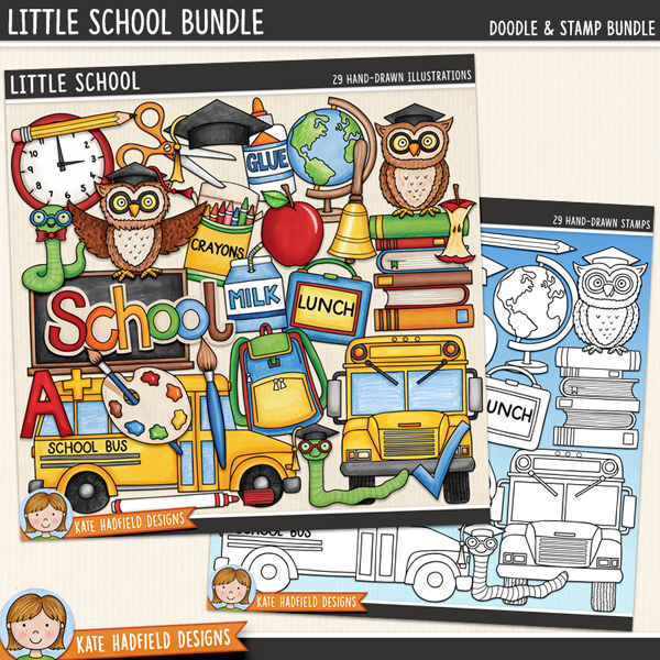 Little School - digital scrapbook elements / cute primary and elementary school clip art! (Clipart and line art bundle). Hand-drawn illustrations and doodles for digital scrapbooking, crafting and teaching resources from Kate Hadfield Designs.