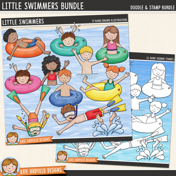 Little Swimmers - swimming kids digital scrapbook elements / cute summer swim clip art! (Clipart and line art bundle). Hand-drawn doodles & illustrations for digital scrapbooking, crafting and teaching resources from Kate Hadfield Designs. #digitalscrapbooking