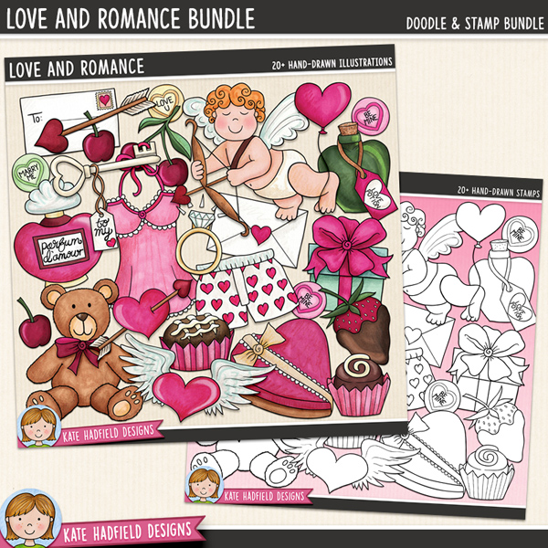 Love And Romance - romantic Valentine's Day digital scrapbook elements / cute love themed clip art! (Clipart and line art bundle). Hand-drawn doodles and illustrations for digital scrapbooking, crafting and teaching resources from Kate Hadfield Designs.