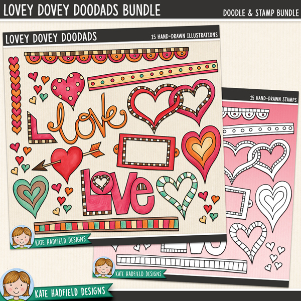 Lovey-Dovey Doodads - Valentine's Day digital scrapbook elements / cute loved themed clip art!  (Clipart and line art bundle). Hand-drawn illustrations for digital scrapbooking, crafting and teaching resources from Kate Hadfield Designs.