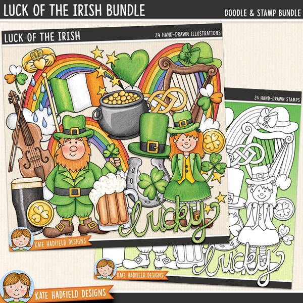 St Patrick's Day digital scrapbook elements / cute Irish themed clip art! (Clipart and line art bundle). These cute hand painted illustrations are perfect for all your St Patrick's Day pages and projects! Hand-drawn clip art and line art for digital scrapbooking, crafting and teaching resources from Kate Hadfield Designs.