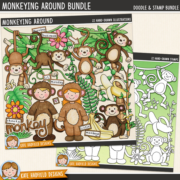 Monkeying Around digital scrapbook elements / cute monkey clip art! (Clip art and line art bundle). Hand-drawn illustrations for digital scrapbooking, crafting and teaching resources from Kate Hadfield Designs.