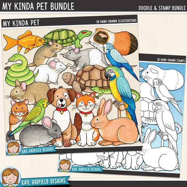My Kinda Pet - animal digital scrapbook elements / cute pet clip art! (Clip art and line art bundle). Hand-drawn doodles and illustrations for digital scrapbooking, crafting and teaching resources from Kate Hadfield Designs.