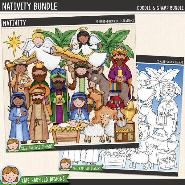 A collection of Nativity doodles that are perfect for adding a touch of hand-drawn whimsy to your your layouts and projects! Contains the following hand-drawn doodles: 2 angels, baby Jesus in manger, empty manger, camel, donkey, gold, frankincense, myrrh, sheep, lamb, Mary with baby Jesus, Joseph, 2 shepherds, stable, star, tree and 3 wise men. (Average size of figures: 6 inches tall). Each character is supplied in two different skin tone versions. 	Extra Value Bundle containing the following:			Nativity			Nativity StampsSupplied in two zip file downloads. FOR PERSONAL & EDUCATIONAL USE (please see my Terms of Use for more information)