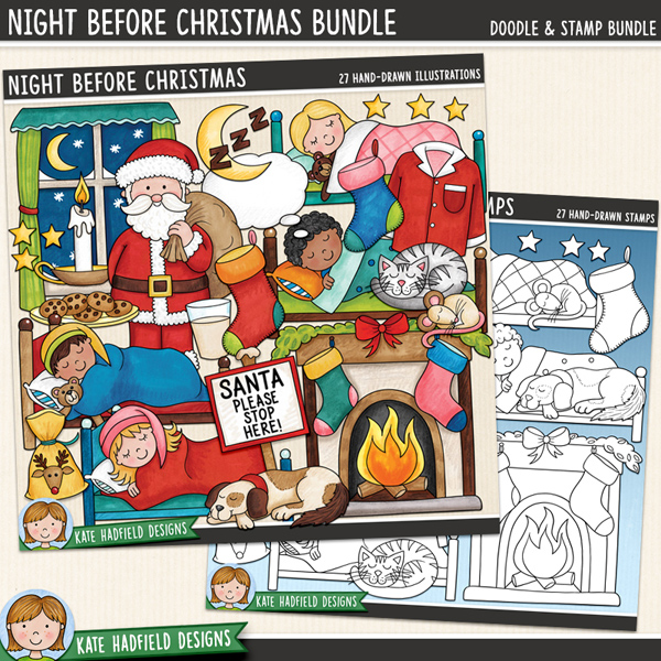 Night Before Christmas - Christmas Eve digital scrapbook elements / cute Santa clip art! (Clipart and line art bundle). Hand-drawn doodles and illustrations for digital scrapbooking, crafting and teaching resources from Kate Hadfield Designs.