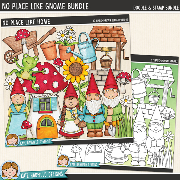 No Place Like Gnome - Gardening digital scrapbook elements / cute garden gnome clip art! (Clipart and line art bundle). Hand-drawn illustrations for digital scrapbooking, crafting and teaching resources from Kate Hadfield Designs.