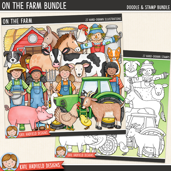 On the Farm - farm themed digital scrapbook elements / cute farmyard animals clip art! (Clipart and line art bundle). Hand-drawn doodles for digital scrapbooking, crafting and teaching resources from Kate Hadfield Designs.