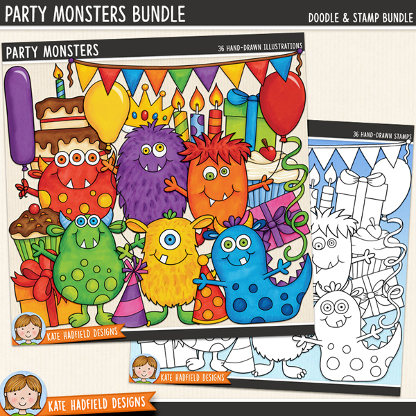 Everyone loves a party, especially the Party Monsters! Birthday party digital scrapbook elements / cute monster birthday clip art! (Clipart and line art bundle). Hand-drawn illustrations for digital scrapbooking, crafting and teaching resources from Kate Hadfield Designs.