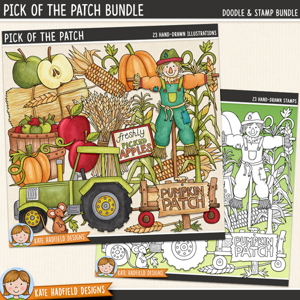 Pick of the Patch - Pumpkin Patch digital scrapbook elements / cute autumn harvest hayride clip art!  (Clipart and line art bundle).Hand-drawn illustrations for digital scrapbooking, crafting and teaching resources from Kate Hadfield Designs.