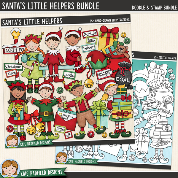 Santa's Little Helpers - Christmas elves digital scrapbook elements / cute Santa's workshop clip art! (Clipart and line art bundle). Hand-drawn illustrations for digital scrapbooking, crafting and teaching resources from Kate Hadfield Designs.