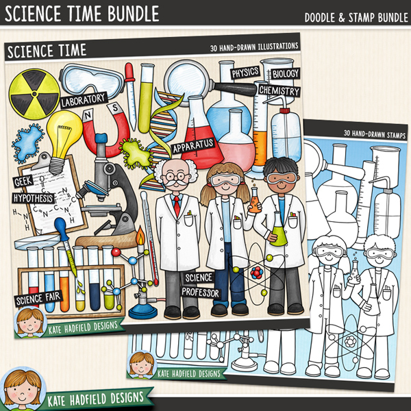 Science Time - school science digital scrapbook elements / cute science clip art! (Clipart and line art bundle). Hand-drawn illustrations for digital scrapbooking, crafting and teaching resources from Kate Hadfield Designs.