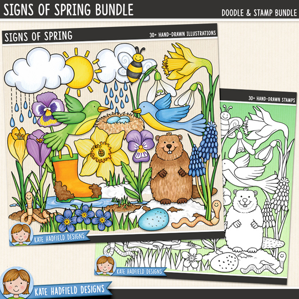 Signs of Spring - Springtime digital scrapbook elements / cute spring and groundhog day clip art! (Clipart and line art bundle). Hand-drawn illustrations for digital scrapbooking, crafting and teaching resources from Kate Hadfield Designs. #digitalscrapbooking