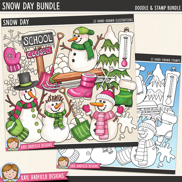Snow Day - Winter digital scrapbook elements / cute snowman clip art!  (Clipart and line art bundle). Hand-drawn illustrations for digital scrapbooking, crafting and teaching resources from Kate Hadfield Designs.