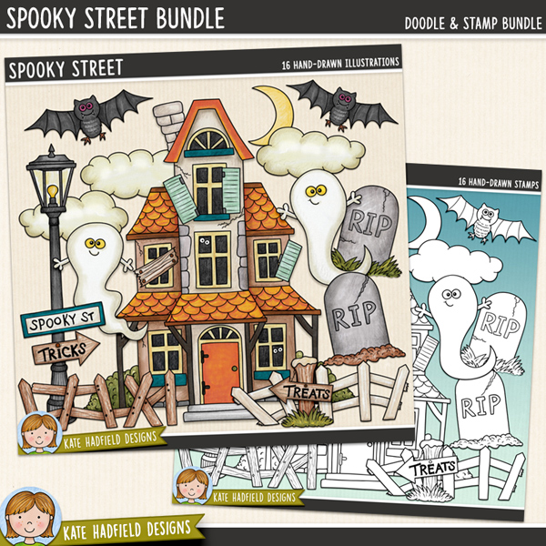 Spooky Street - haunted house digital scrapbook elements / cute Halloween characters clip art! (Clipart and line art bundle). Hand-drawn doodles and illustrations for digital scrapbooking, crafting and teaching resources from Kate Hadfield Designs.