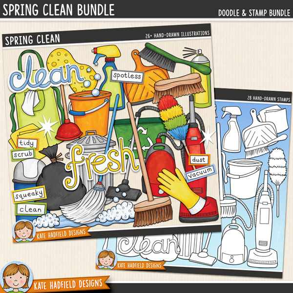 Spring Clean - cleaning digital scrapbook elements / cute household chores clip art! This fun set is perfect for creating chore charts and cleaning rotas! (Clipart and line art bundle). Hand-drawn illustrations for digital scrapbooking, crafting and teaching resources from Kate Hadfield Designs.