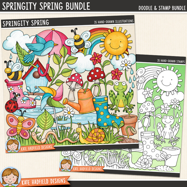 Springity Spring - digital scrapbook elements / cute springtime clip art! (Clipart and line art bundle). Hand-drawn illustrations for digital scrapbooking, crafting and teaching resources from Kate Hadfield Designs.