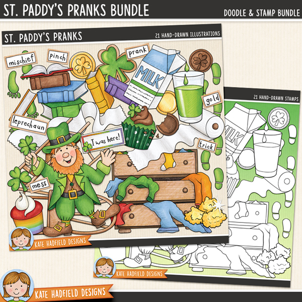 St Patrick's Day digital scrapbook elements / cute leprechaun clip art! (Clipart and line art bundle). Hand-drawn clip art and line art for digital scrapbooking, crafting and teaching resources from Kate Hadfield Designs.