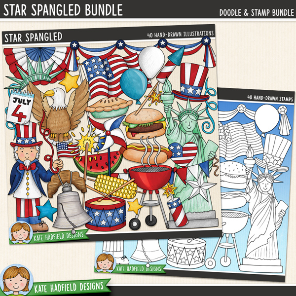 Star Spangled - 4th July digital scrapbook elements / cute American Independence Day clip art! (Clipart and line art bundle). Hand-drawn doodles and illustrations for digital scrapbooking, crafting and teaching resources from Kate Hadfield Designs.