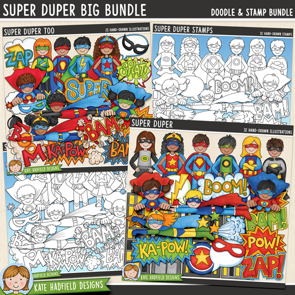 Super Duper BIG Bundle - bumper pack of superhero themed digital scrapbook elements / cute comic book clip art! Hand-drawn illustrations for digital scrapbooking, crafting and teaching resources from Kate Hadfield Designs.