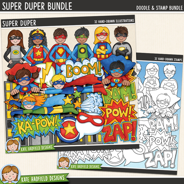 Super Duper - a fun collection of colourful super heroes all ready to jump in and save the world! (Clip art and line art bundle). Hand-drawn illustrations for digital scrapbooking, crafting and teaching resources from Kate Hadfield Designs.