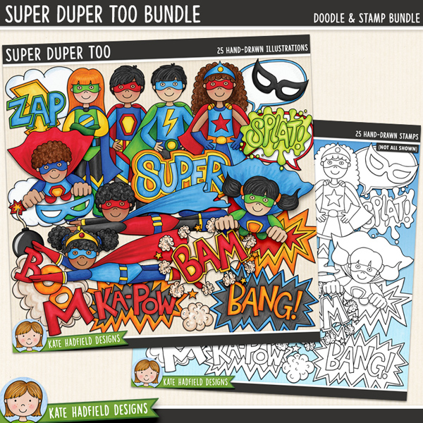 Super Duper Too - a fun collection of colourful super heroes all ready to jump in and save the world! (Clip art and line art bundle!) Hand-drawn clip art illustrations for digital scrapbooking, crafting and teaching resources from Kate Hadfield Designs.