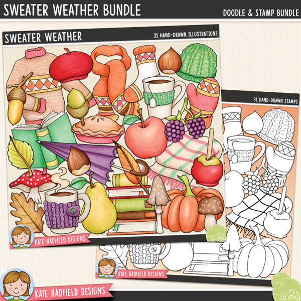 Sweater Weather - autumn digital scrapbook element / cute fall clip art! (Clipart and line art bundle). Hand-drawn doodles and illustrations for digital scrapbooking, crafting and teaching resources from Kate Hadfield Designs.