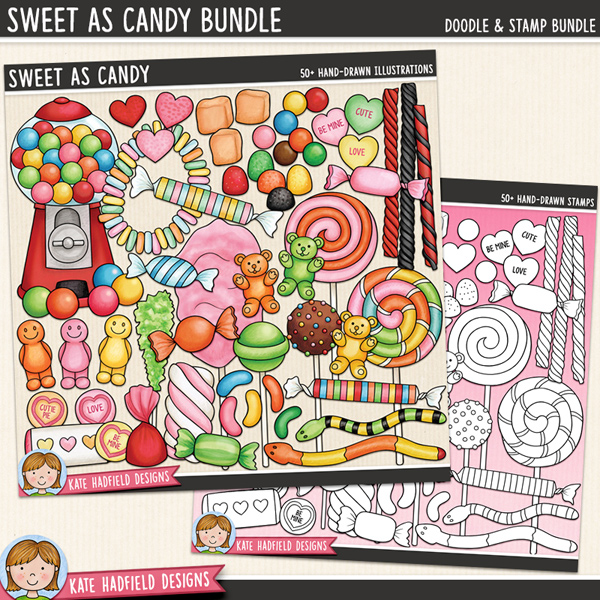 Sweet As Candy - confectionery and sweets digital scrapbook elements / cute candy clip art! (Clipart and line art bundle). Hand-drawn doodles and illustrations for digital scrapbooking, crafting and teaching resources from Kate Hadfield Designs.
