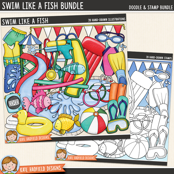 Swim Like a Fish - swimming digital scrapbook elements / cute summer pool party clip art set! (Clipart and line art bundle). Hand-drawn doodles and illustrations for digital scrapbooking, crafting and teaching resources from Kate Hadfield Designs.