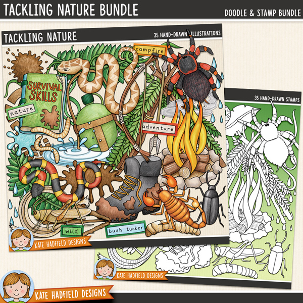 Tackling Nature is a jam-packed, down and dirty doodle pack created for all the intrepid explorers out there! Bush craft digital scrapbook elements / outdoors clip art set! (Clipart and line art bundle). Hand-drawn illustrations for digital scrapbooking, crafting and teaching resources from Kate Hadfield Designs.  #digitalscrapbooking #digiscrap
