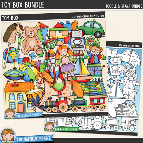 Toy Box - traditional toys digital scrapbook elements / cute toy clip art! Clip art and line art bundle. Hand-drawn doodles and illustrations for digital scrapbooking, crafting and teaching resources from Kate Hadfield Designs.